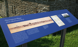 One of the dozen new interpretive signs installed recently is found in front of the Stone Magazine. Credit: Andrew Stewart