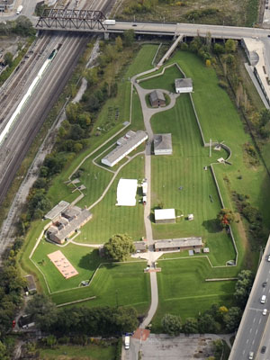 Aerial view of Fort York looking east.