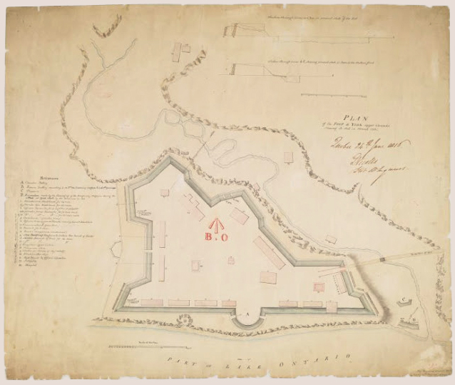 Plan of Fort at York, Upper Canada, shewing its state in March 1816 Drafted by: Royl. Engineers Drwg. Room, Quebec, 16th Feby. 1816, J. B. Duberger, Junr. Quebec, 24th June 1816, G. Nicolls, Lt. Col. Rl. Engineers. Image courtesy Library and Archives Canada: NMC 23139